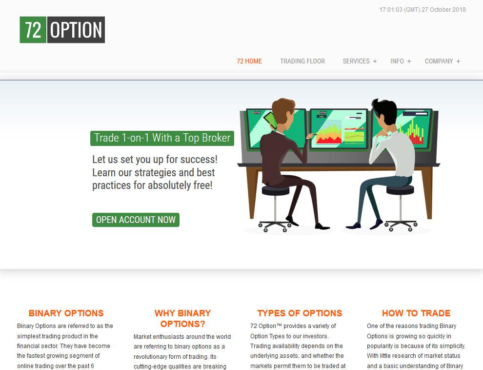 72Option Website Screenshot
