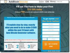 AutoBitcoinGenerator Software Website Screenshot