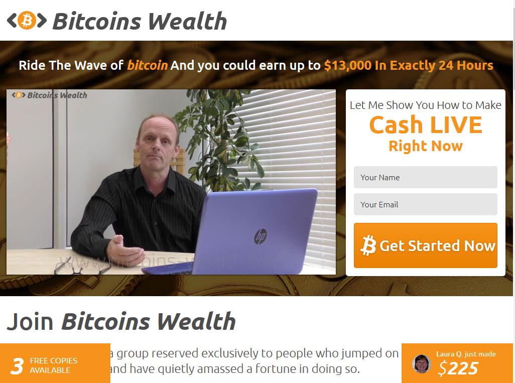 Bitcoins Wealth System Website Screenshot
