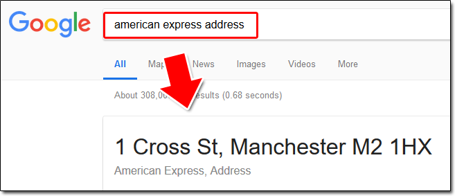Card Issuer Address Example