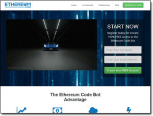 Ethereum Code Bot Website Screenshot