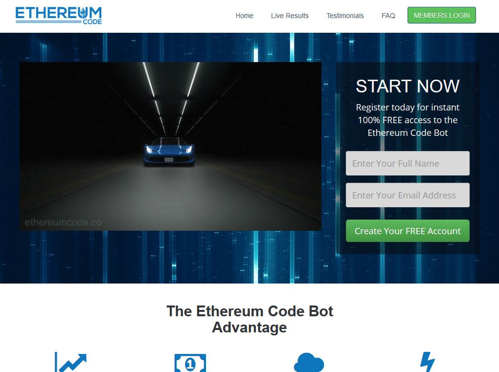 Ethereum Code System Website Screenshot