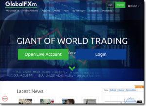 GlobalFXm Broker Website Screenshot