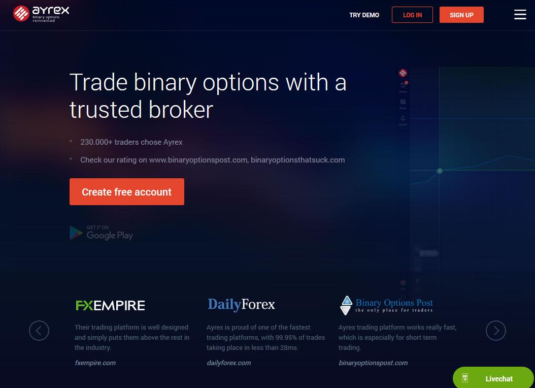 Ayrex Broker Website Screenshot