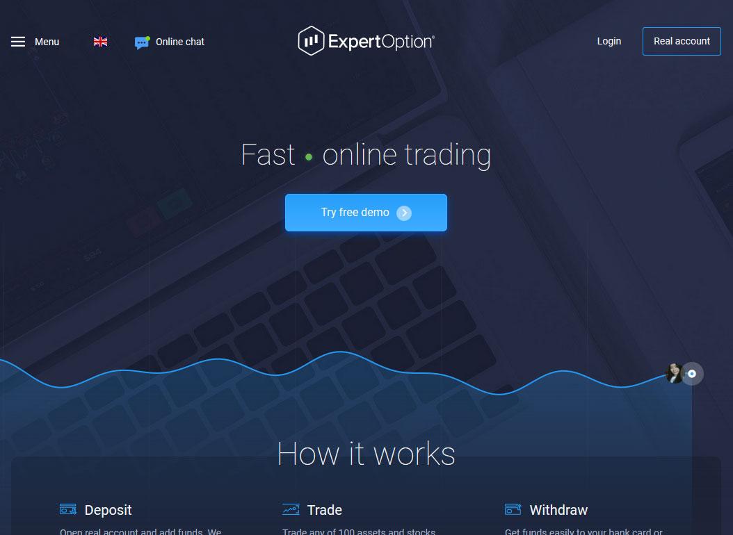ExpertOption Broker Website Screenshot