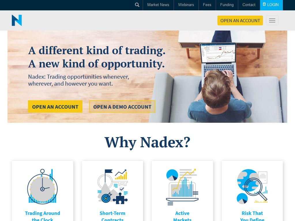 NADEX Broker Website Screenshot