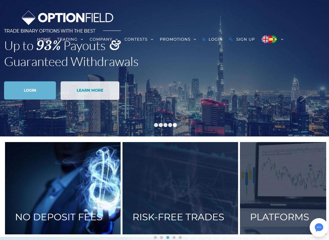 OptionField Broker Website Screenshot