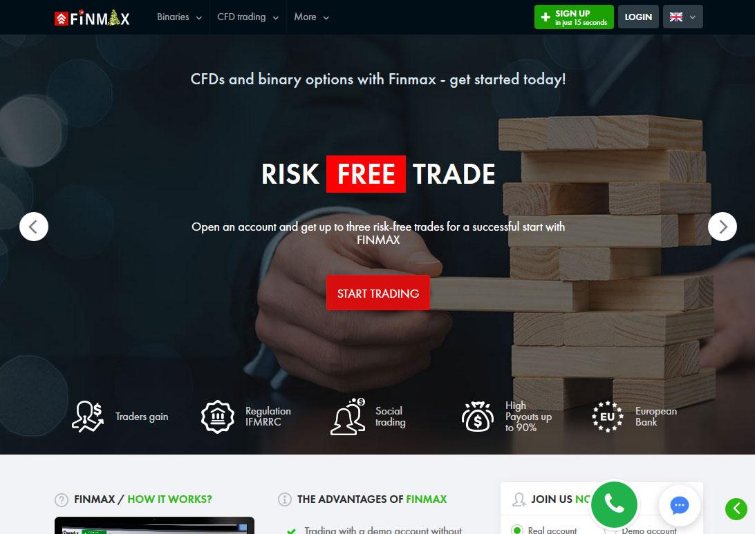FinMax Broker Website Screenshot