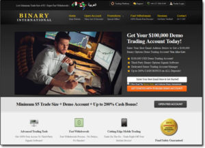 Binary International Broker Website Screenshot