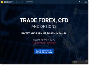 BinaryCent Broker Website Screenshot