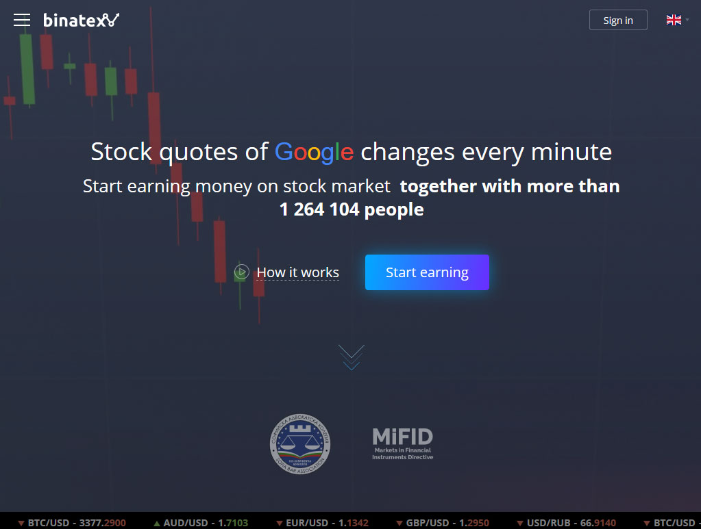 Binatex Broker Website Screenshot