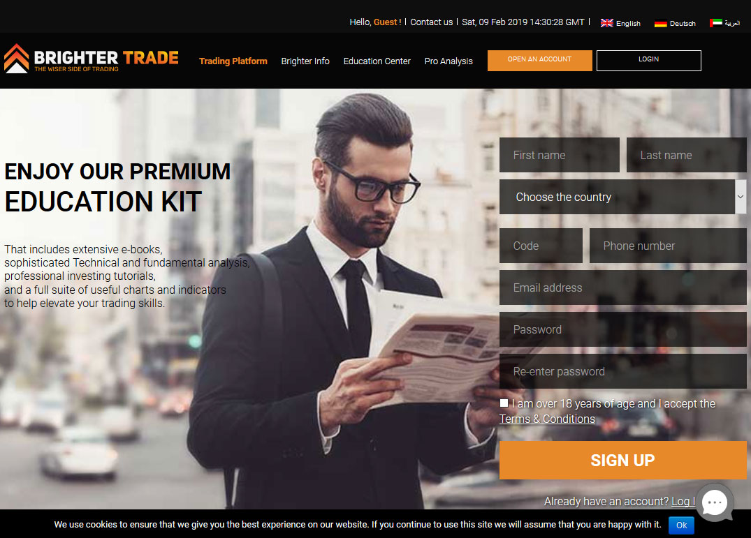 BrighterTrade Broker Website Screenshot