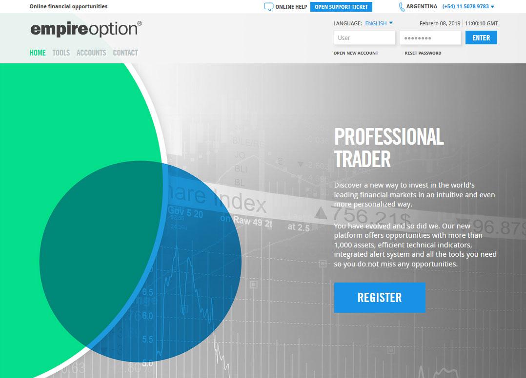 EmpireOption Broker Website Screenshot