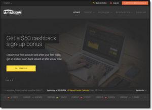 HighLow Binary Options Broker Website Screenshot