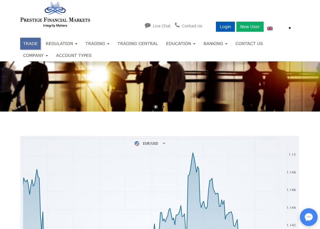 Prestige Financial Markets Broker Website Screenshot
