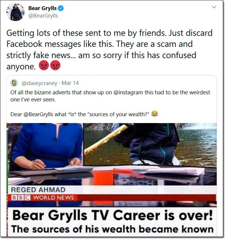 Bear Grylls Bitcoin Scam Tweet