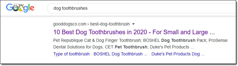 Dog Toothbrushes Search Results Example